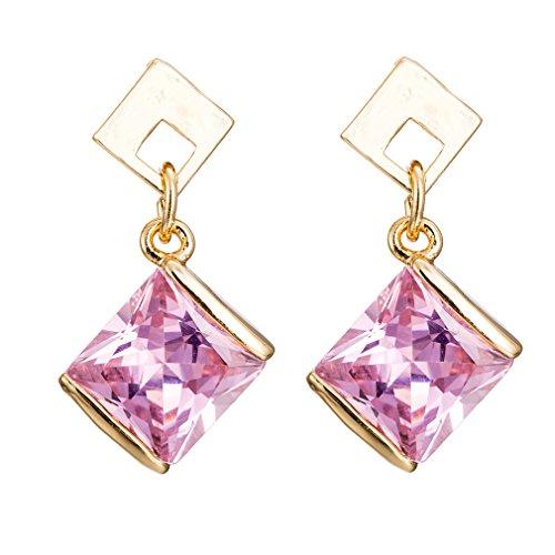 YAZILIND Elegant Gold Plated Square Pink Cubic Zirconia Stud Drop Dangle Earrings for Women