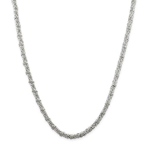 (925 Sterling Silver Polished 4mm Fancy Byzantine Chain Necklace 24