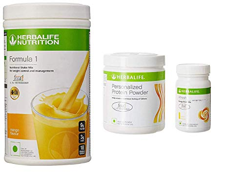 (Herbalife Weight Loss Program Kit - Natural Organic Diet Meal Replacement Package for Men and Women - Nutritional Formula 1 Shake Mango - Herbal Protein Powder  - Afresh Energy Drink Mix Lemon)