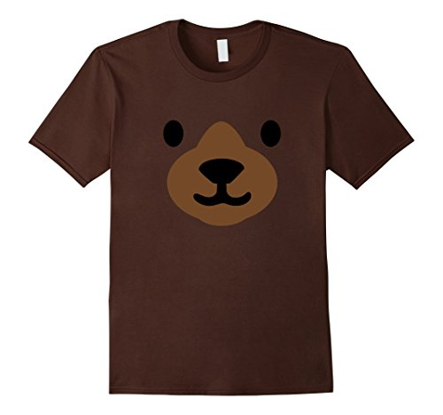 Mens Bear Face Halloween Costume Shirt Funny Easy for Kids Adults Medium (Easy Halloween Costumes Funny)