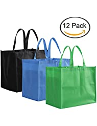 Tosnail Large Reusable Handle Grocery Tote Bag Shopping Bags - 12 Pack in 3 Colors