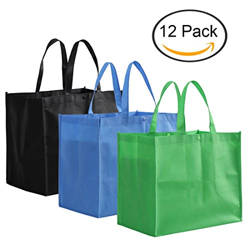 Tosnail Large Reusable Handle Grocery Tote Bag Shopping Bags - 12 Pack in 3 Colors Large Grocery Tote