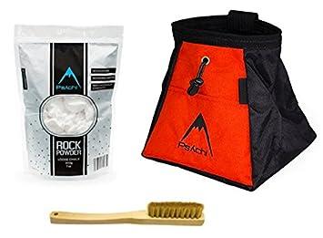 Psychi - Bolsa de magnesio para escalada en roca, con cepillo y magnesio, naranja: Amazon.es: Deportes y aire libre