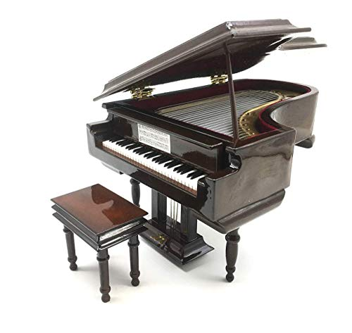 Piano Music Box with Bench and Black Case Musical Boxes Gift for Christmas/Birthday/Valentine's Day, Melody Castle in The Sky (Musical Christmas Box)