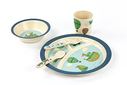 Kids Dinnerware Set BPA Free - Bamboo Bowl,Toddler Plate,Cup,Fork & Spoon, FDA Food Safety Approval (Transport)
