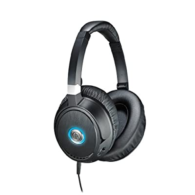 Audio-Technica ATH-ANC70 QuietPoint Active Noise-Cancelling Closed-Back Headphones - INCLUDES - Carrying Case AND FiiO A1 Amp, Blucoil Extender PLUS 2-Pack AAA Batteries
