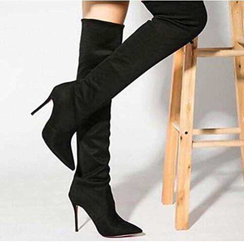 Sole Single High suede elasticity Stiletto Toe Pointy Boot Thigh red Women nOHq8Y4X4