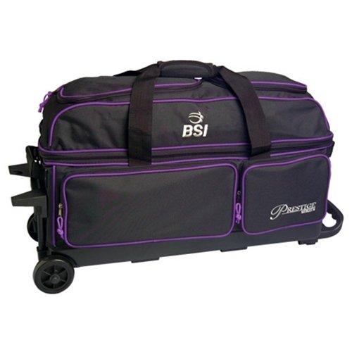 Bowlers Superior Inventory BSI Prestige 3 Ball Roller Bowling Bag- Black/Purple ()