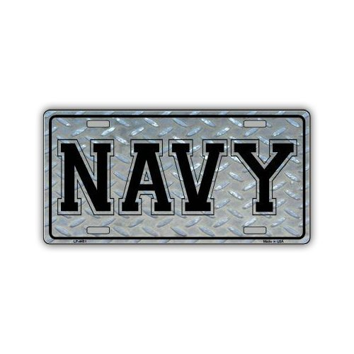 Novelty Vanity License Plate Tag Cover - Navy (Diamond Plate Look) - 12