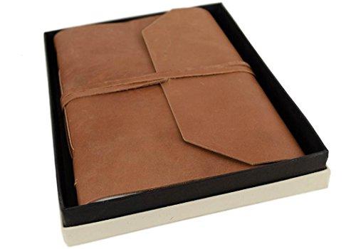 Beatnik Extra Large Tan Handmade Leather Wrap Journal, Plain Pages (30cm x 21cm x 3cm)
