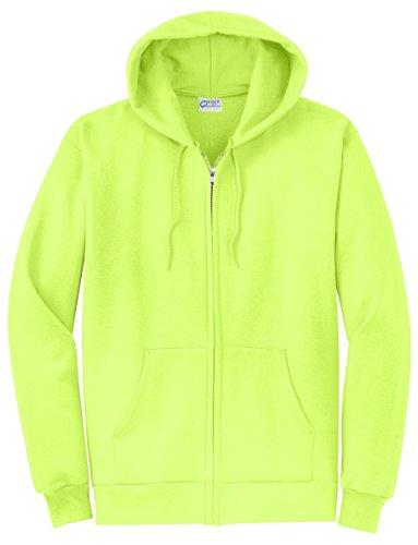 Port & Company Men's Classic Full Zip Hooded Sweatshirt L Neon Yellow