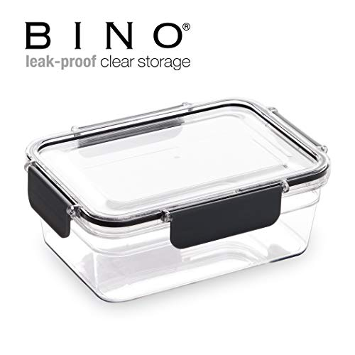 BINO Tritan Crystal Clear Rectangular Leak-Proof Plastic Snap Lock Food Storage Container with Lid, 1 Liter/4.2 Cups