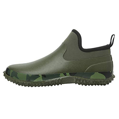 JOINFREE Unisex Outdoor Short Rain Boots Ankle Garden Work Boots Army Green 12 M US Women/10 M US Men