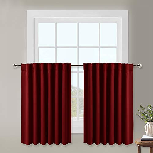 NICETOWN Bedroom Half Window Curtains - Home Decoration Short Drapes Rod Pocket & Back Tab Valance Tiers (Burgundy, 1 Pair, 52 Width x 36