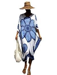 WSPLYSPJY Maxi Vestido de Playa con Estampado étnico para Mujer con Estampado Africano Dashiki Caftan