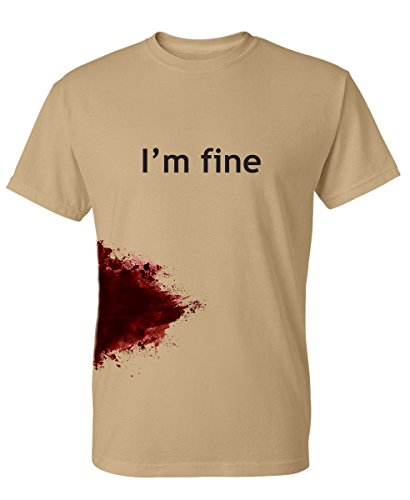 I'm Fine Graphic Zombie Slash Movie Halloween Injury Novelty Cool Funny T Shirt S Tan
