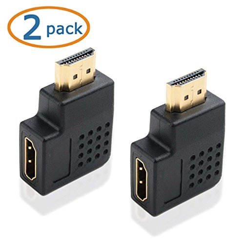WOVTE HDMI Right Angle Port Saver Adapter Male to Female 270 Degree Vertical Flat Right Pack of 2 (270 Adapter Hdmi Angle)