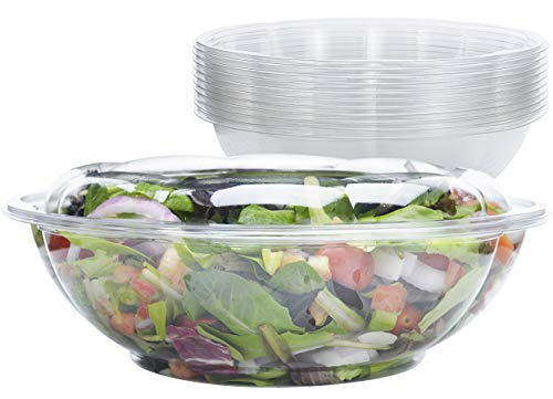 DOBI Serving Bowls with Lids [10 Pack - 64 oz.] - Clear Plastic Disposable Containers with Lids, Large Size. Great for a Party or When You Wish to Take Your Treats with You (Catering Salad Bowl)