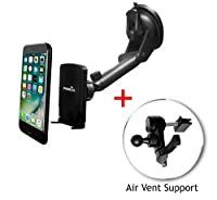 Widras Windshield Magnetic Car Mount Phone Holder | 2in1 Air Vent and Window | for Smartphone and tablets iPhone 7 7+ / 6s / 5 5s / Galaxy S7 / Edge / S6 /Note 5 /Nexus Pixel | Truck Compatible