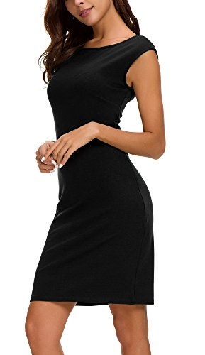 Urban CoCo Women's Sheath Tank Dress Sleeveless Bodycon Midi Dress (M, Black) (Sleeveless Sheath)