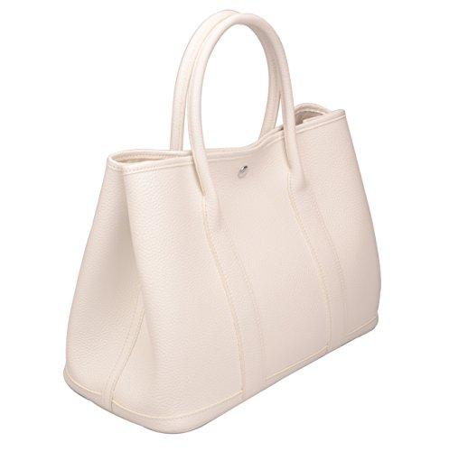 Ainifeel Women's Genuine Leather Top Handle Handbag Shopping Bag Tote Bag (White) by Ainifeel