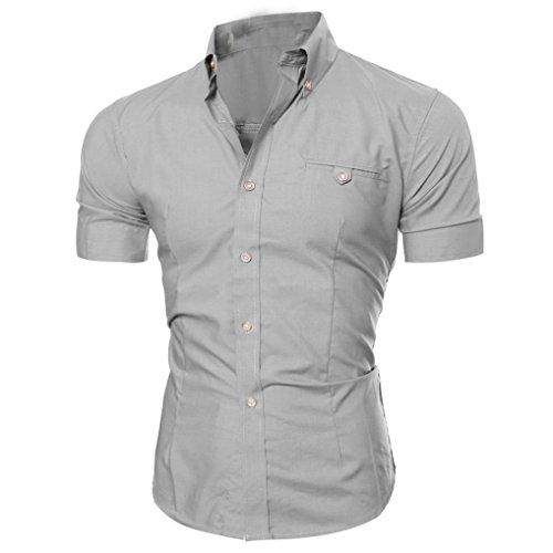 Realdo Mens Shirt, Summer Casual Solid Short Sleeve Button Down T-Shirt Top Blouse(Grey,X-Large)]()
