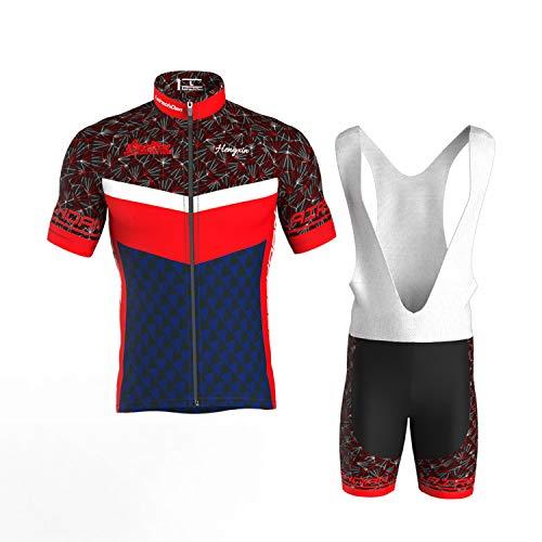 COMEIN Wielertrui Set heren FIetskleding Wielertrui Fietsbroek Gewatteerde Bib Shorts met 9D Gel Fietsen Combo set (Rood…