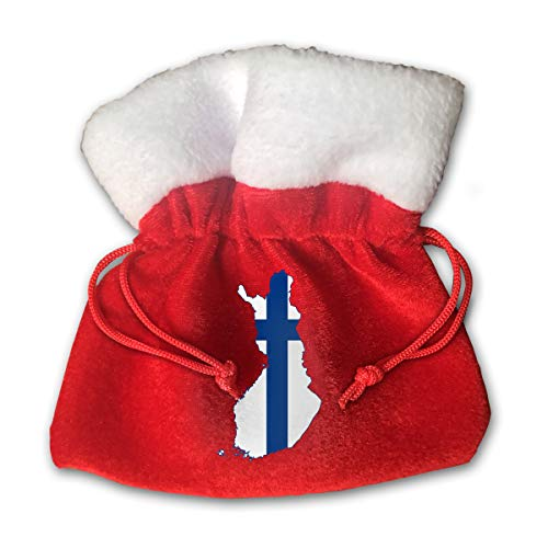 - NRIEG Finland Flag Map Christmas Candy Bags Santa Claus Gift Treat Sacks with Drawstring Xmas Stocking Ornaments Decor Handbag