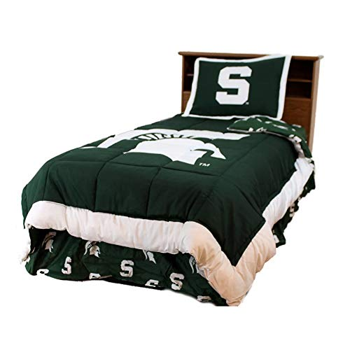 (3 Pc NCAA University of Michigan State Spartans Comforter Set Full Vibrant Box Stitched Design Team Logo Printed Basket Ball Boys Bedding Trendy Sports Patterned Lightweight Reversible Green Comforter)