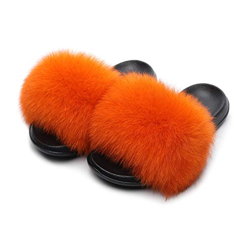 HONGTEYA Real Fox Fur Slides Sandals for Women 20+ Styles Toddler Girls Feather Slip On Summer Furry Slippers Flip Flops Shoes Flats  (8 M US Adult, Orange)