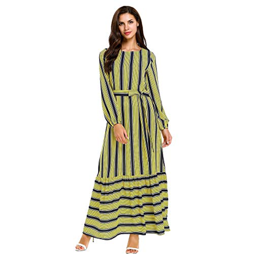 Dresses for Womens Long Sleeve Abaya Hem Solid Striped Stitching Lacing Casual Cocktail Maxi Dress (4XL, Multicolor) ()