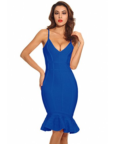 - Maketina Women's Mermaid Spaghetti Strap V Neck Bodycon Midi Cocktail Bandage Dress Blue XL