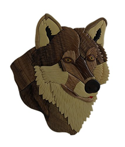 Zeckos Wood Decorative Wall Plaques Hand Carved Intarsia Wolf Head Wood Art Wall Hanging 12.75 X 15.5 X 0.5 Inches Brown