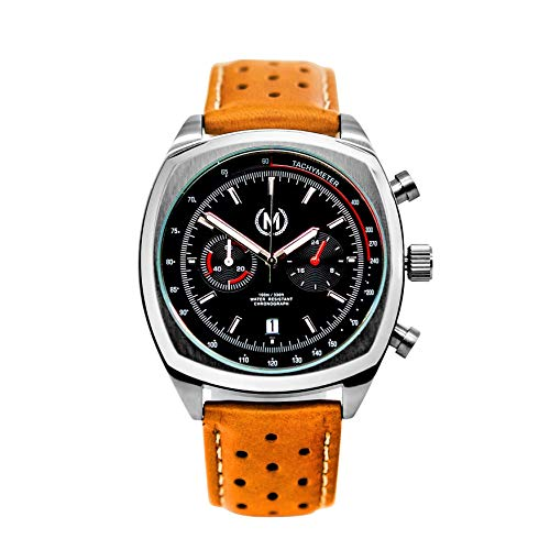 Marchand Classic Driver Chronograph Watch | Racing Chronograph Watch | Retro Watch | British Designed | Chronograph Quartz Movement | Tan Leather Watch Band | Watch for Men | 24 Month Warranty - Mens Watch Driver