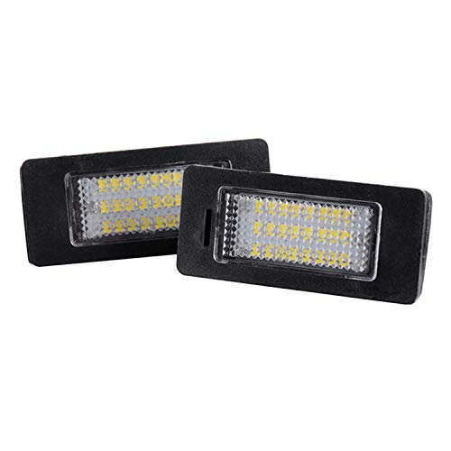 Yesjoy Pair 24 SMD LED Car Rear Tail Number License Plate Light Auto Accessories Bright White Lamp Bulbs Error Free for E39 E60 E70 E82 E90 E92 F30 BMW 1 3 4 5 Series X1 X3 X5 X6