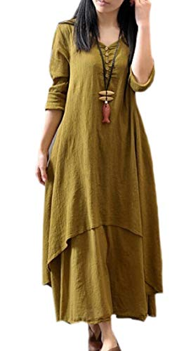 Dress Cotton Women Neck A Linen Long Two line Layer Jaycargogo V Vintage Loose 2 aAqxZzA7