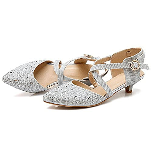 2b2eee4dd4327 good IDIFU Women's Glitter Sequins Cross Bandage Kitten Heels ...