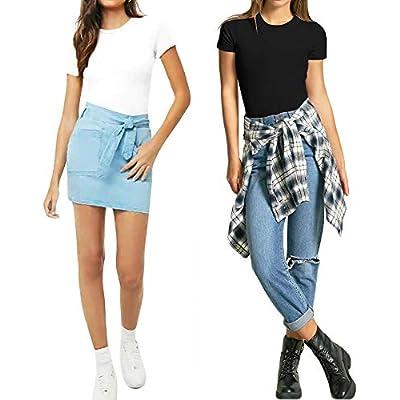 MANGOPOP Women's Round Neck Short Sleeve T Shirts Basic Bodysuits: Clothing