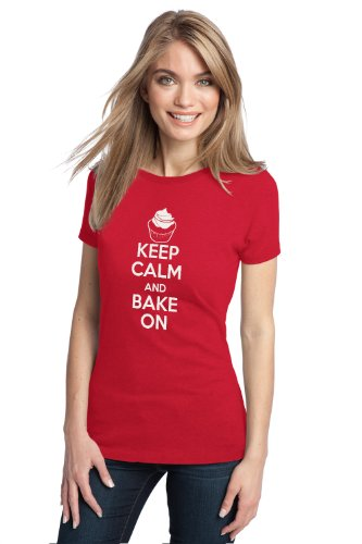 KEEP CALM AND BAKE ON Ladies' T-shirt / Funny Baker, Cute Baking Shirt