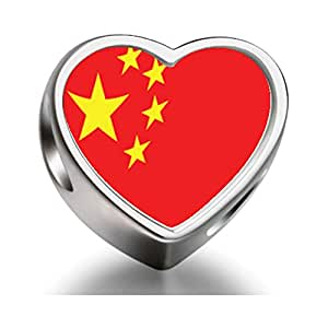 Rarelove Sterling Silver China Flag Heart Photo Charm Beads