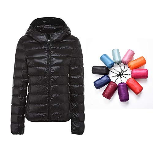 RIOJOY Packable Down Jacket Women Hooded Ultra Lightweight Short Winter Jacket with Carry-on Bag