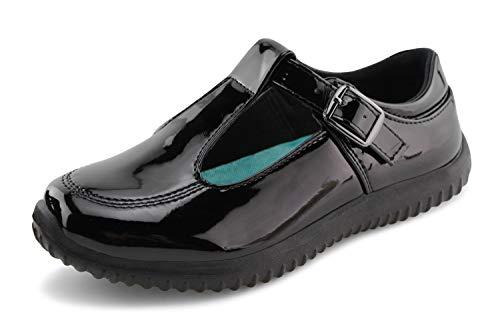 Jabasic Girls Mary Jane T-Strap School Uniform Flats Shoes (11,Black-6) ()