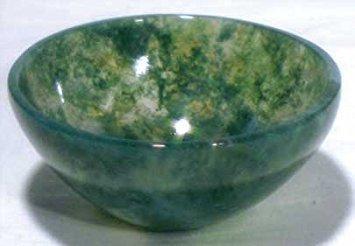 Devotional Bowl - AzureGreen Small Moss Agate Devotional Bowl by Magickal Finds