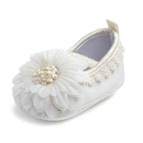14637706b9 Ruimin 1PC Baby Girl Infant Satin Shoes Satin Sticker Shoes Soft Bottom Shoe  Size 9.5cm (Beige Sunflower)