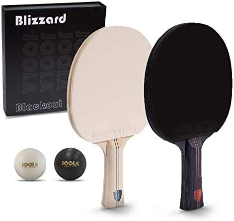 JOOLA Blizzard Blackout – Competition Ping Pong Paddle Set – Includes 2 Table Tennis Rackets, 2 Ping Pong Balls, Storage Box, and a Winner s Gold Medal – Indoor and Outdoor Compatible