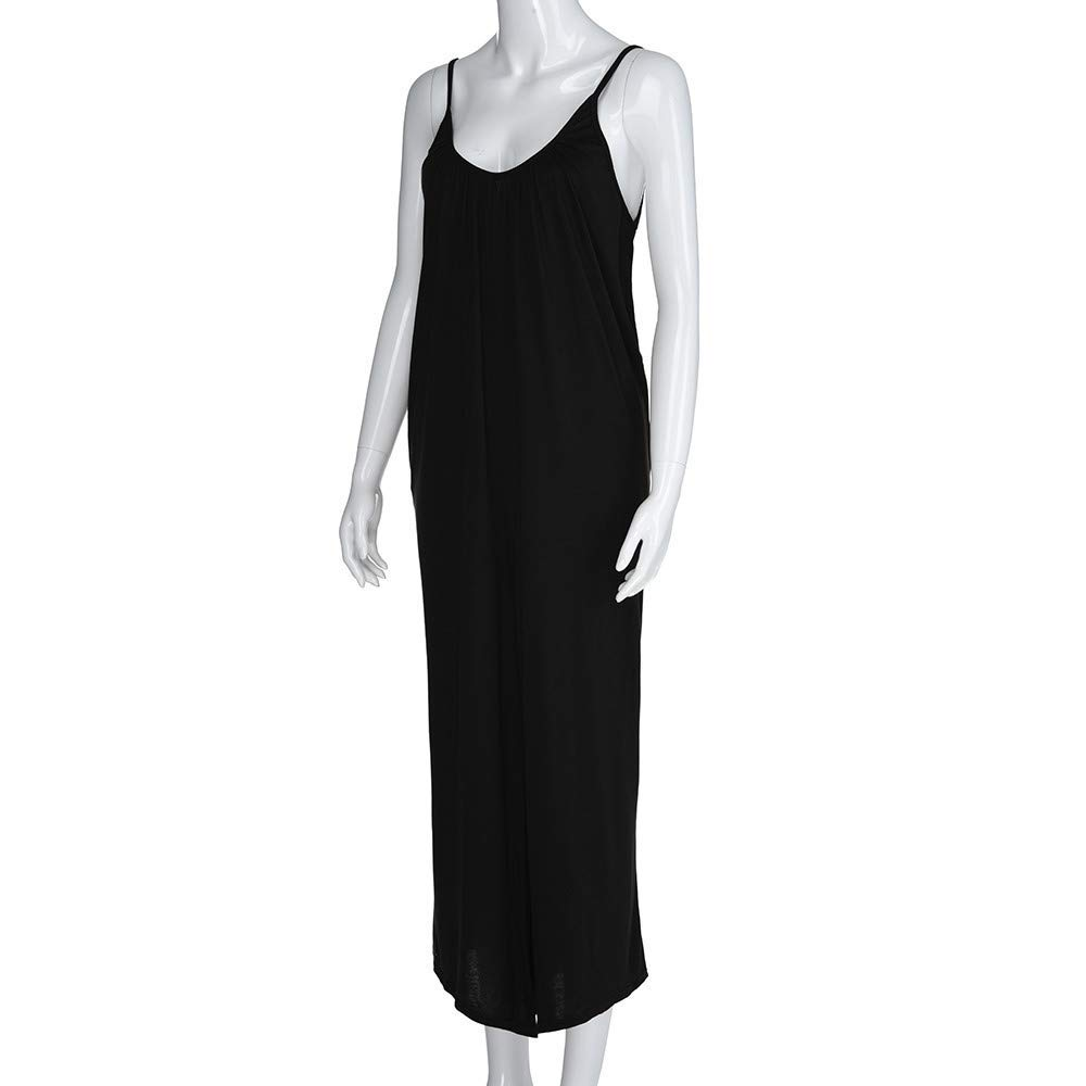 GWshop Fashion Jumpsuit Women Jumpsuits and Rompers Plus Size O-Neck Ssleeveless Jumpsuit Playsuit with Pocket Black 2XL by GWshop (Image #5)