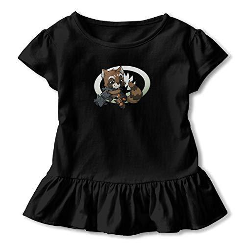 (Kim Mittelstaedt Super Rocket Children's Short Sleeve T-Shirt Girl's Cute Soft Cotton Dress Black 3T)