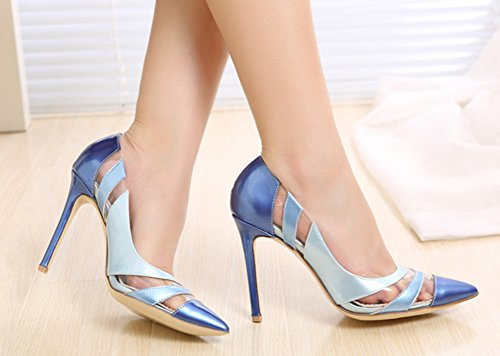 Womens High Dressy Cut On Pointed Blue Toe Color Aisun Slip Heels Low Pumps Contrasted Stiletto Shoes dyFqxCv