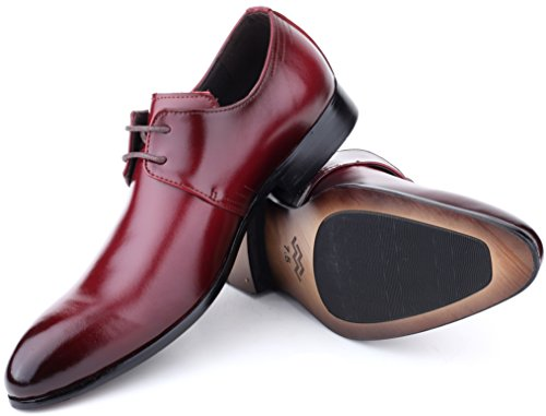 Mio Marino Mens Shoes, Oxford Dress Shoes, Genuine Leather in a Shoe Bag - Cabernet - Plain Toe - 9 D (M) (Caro Cabernet)