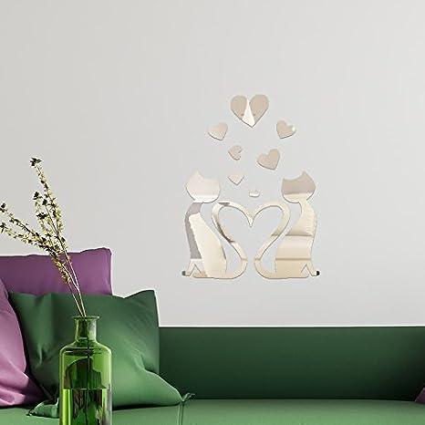 Colori Decorativi Per Pareti.Walplus Specchi Decorativi Da Parete A Forma Di Gatti Innamorati